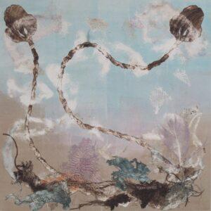 an imaginative monoprint showing sea lilies