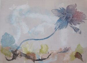 monoprint of floating sea lily